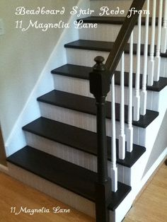 Awesome stair redo with painted treads and beadboard risers (and painted banister and spindles) from 11 Magnolia Lane