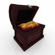 Hey look, it's a perfectly safe chest of doubloons, I sure hope nothing bad comes of this. Pirate Treasure Chest, Low Poly Games, Game Assets, Pixel Art, Pirates, Panda, Pandas