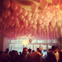Fill your ceiling with balloons. balloon parti, balloon party, pink balloons party, float balloon, balloon ceil, balloons ceiling