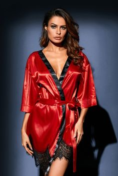Sexy Red Luxurious Satin Robe Nightwear Available in: S,M,L Color: as shown Satin Lingerie, Babydoll Lingerie, Women Lingerie, Lingerie Drawer, Satin Kimono, Silk Satin, Satin Dressing Gown, Affordable Lingerie, Satin Pajamas