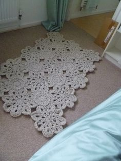 """""""Crochet Rug"""" Inspiration - take a crochet doily runner pattern and create with cotton cording and a very large hook."""