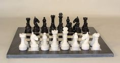 "Marble Chess Set 16"" Black and White with Black Frame 3.5"" King Pakistan"