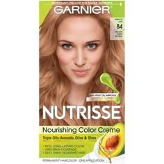 Garnier Nutrisse Nourishing Hair Color Creme with Triple Oils, Apricot Jam Medium Warm Blonde, 1 kit, Orange Warm Blonde, Permanent Hair Color, Strong Hair, Natural Baby, Your Hair, Hair Colour, Dyes, Hairstyles, Beauty