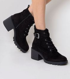 Black Suedette Buckle Side Lace Up Boots | New Look