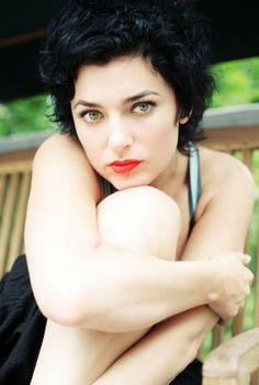 Short Black Curly Hair. Very Cute. Pale Skin. Scarlet Lips.