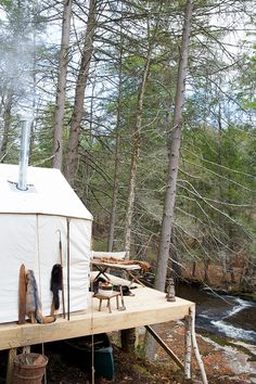 Upstate New York Campsite with Canvas Tent and Antiques