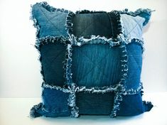 Rag Quilt Throw Pillow Cover - Shabby Chic Cushion Cover
