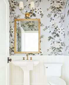 Powder Room with Pretty Floral Wallpaper