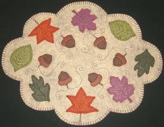 Leaves Candle Mat Wool Applique PATTERN Fall Thanksgiving Autumn Penny Rug Needlecraft Acorns Primitive Beige