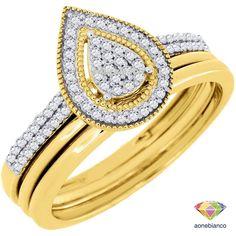 Diamond Engagement Wedding Ring 10K Yellow Gold 3 Piece Pear Shaped Bridal Set #aonebianco