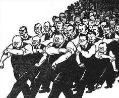 """""""Todos com você, Winston"""", de David Low, publicada em 14 de maio de 1940. O pôster nacionalista procurou mostrar a determinação e a capacidade de liderança do novo Primeiro-Ministro. Entusiasmado, David Low buscou demostrar a determinação e o otimismo do recém-formado governo de coalizão criando uma série de charges."""