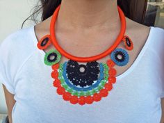 Mothers Day Gift/Bohemian Jewelry / Tassel Necklace / Crochet Lace Necklace / Long Necklace / Black Blue Green Orange /