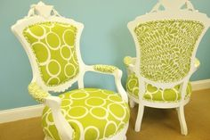 Vintage Victorian Reupholstered Painted Wood Chairs <3 by jane
