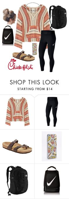 """""""lazy school day"""" by faithjones1223 ❤ liked on Polyvore featuring Billabong, NIKE, Birkenstock, Skinnydip and The North Face"""