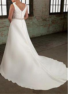 Elegant Organza Satin A-line V-neck Neckline Plus Size Wedding Dress With…