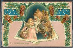 NF198 Santa Claus w Girl in Bell Fir Tree Russian Postcard Embossed 1908 | eBay
