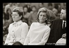 sisters, Jean Kennedy Smith & Pat Kennedy Lawford at a Robert Kennedy speech in 1968