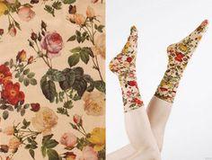 Strathcona Stockings floral printed socks