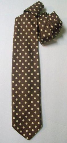 "Cool Vintage Brown & Cream Polkadot All Silk Neck TIE 3.5"" x 57"" #NoName #NeckTie"