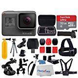 GoPro HERO5 Black Sports Action Video Camera  Waterproof to 33 Wi-Fi Bluetooth & GPS  SanDisk Ultra 32GB Card  Extendable Monopod  Flexible Tripod  Chest & Head Strap  Jaw Clamp  Accessories