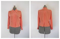 Vintage 1960s Coral Silky Blouse Janice Brent by rileybella123, $29.00