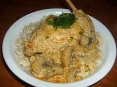 Gombás-boros nyúlcombok Hungarian Recipes, Rice, Chicken, Meat, Food, Eten, Meals, Cubs, Kai