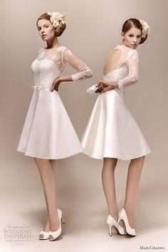 Short Wedding Dresses  :    max chaoul bridal 2013 romy 1960 short wedding dress long lace sleeves