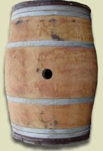 This Barrel is approximately 38 inches tall. A Full barrel with Special Chestnut bandings.  Two Chestnut bands on each end adds a certain prestige and elegance to this wine barrel.  $125/ea + s/h    Chestnut Strap Barrel