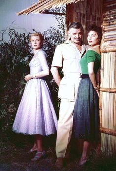 """Grace Kelly, Clark Gable and Ava Gardner in """"Mogambo"""" (John Ford, A classic film to put on your to watch list ~ Two exquisite actresses pitted against one another.and that handsome Clark Gable.What an up close triangle~ Cinema Tv, Films Cinema, I Love Cinema, Hollywood Cinema, Hollywood Glamour, Hollywood Stars, Grace Kelly, Patricia Kelly, Hollywood Vintage"""