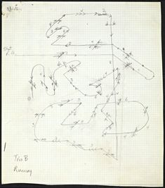 """Yvonne Rainer. Score for """"Trio B: Running"""" from The Mind is a Muscle, 1966-68, Graphite and ink on paper, 21.1 x 18.5 cm. The Getty Research Institute. © Yvonne Rainer"""