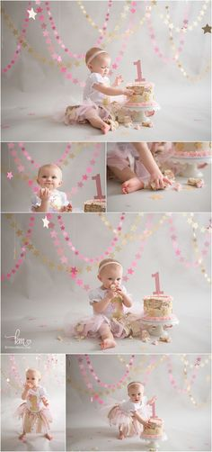 Pink & Gold Twinkle Little Star 1st Birthday Cake Smash