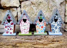 nichoir, boite, oiseaux , nest, bird, mosaique, briare, mosaic, cadeau, gift, noel, christmas, handmade, ebay,