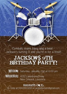 Drummer boy/Drum themed party Birthday Invitation by creolepaperie