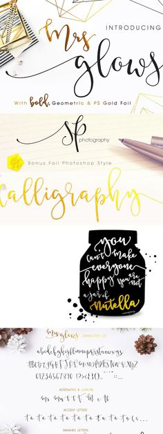 Mrs Glows. Beautiful Bouncy and little wild, calligraphy font with swashes, Bonus Geometric Wireframe Font and Modern Gold Foil Photoshop Style (.asl) for modern minimalist design lovers. Characters list: A-Z, a-z, 0-9, punctuation, Accent letters available on Swashes too. Suitable for any design needs, modern design, brand