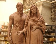 Statue of Holy Family being commissioned for Wichita cathedral showing a pregnant Mary and a supportive Joseph