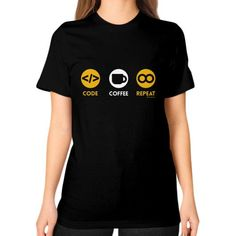 CODE COFFEE REPEAT Unisex T-Shirt (on woman)