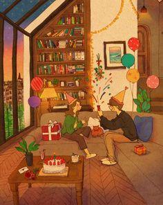 Cute Cartoon Girl, Cute Love Cartoons, Puuung Love Is, Plant Cartoon, Love You Babe, Cute Love Stories, Cute Couple Art, Art Of Love, Anniversary Funny