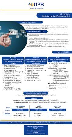 UPB Experto en Modelos de Gestión Empresarial (ULTIMAS PLAZAS)   Santa Cruz   La Paz   Cochabamba