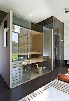 Baie vitrée sauna