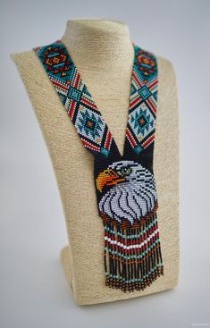 MADE TO ORDER Eagle beadwork necklace Ethnic long beaded gerdan Long boho colorful animal necklace Seed bead folk necklace Eagle as a gift Native Beading Patterns, Bead Embroidery Patterns, Beadwork Designs, Seed Bead Patterns, Bead Embroidery Jewelry, Seed Bead Art, Seed Beads, Beaded Animals, Loom Beading