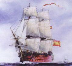 Navio Principe de Asturias 120 cañones. 1803 En Trafalgar llevó la insignia del teniente general Federico Gravina, muerto un año después a causa de las heridas. Murieron 50 tripulantes y 110 fueron heridos. Fué remolcado tras la batalla por la fragata Thémis. Fue sometido a reparaciones en Cádiz. En septiembre de 1810 se trasladó a La Habana junto con el Santa Ana para estar más seguro durante la guerra contra los franceses. En 1814 se fue a pique y en 1817 se ordenó su venta para el…