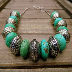 Turquoise & Tibetan Silver Stone Necklace (Etsy :: http://www.etsy.com/listing/96720557/navajo-warrior-western-cowgirl )