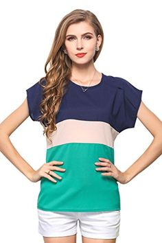 Women's Loose Casual Stripe Color Col...