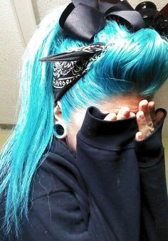 "Manic Panic ""Atomic Turquoise!"" This is the color blue in my hair."