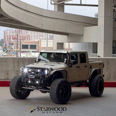 "Starwood Motors ""The Bandit - 4 Door Jeep Truck Auto Jeep, Jeep Jk, Jeep Truck, Pickup Trucks, Cool Jeeps, Cool Trucks, Cool Cars, Jeep Carros, Badass Jeep"