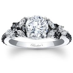 """Barkev's 14K White Gold and Black Diamond Encrusted """"Petal"""" Engagement Ring With 0.32 Carats Marquise Cut Diamonds and 0.32 Carats Round Cut Diamonds Style 7932L"""