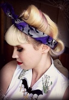 Spooky pin-up outfit today with victory rolls and back roll :3 operottica.tumblr.com  #pinup #halloween #rockabilly #retro #vintage