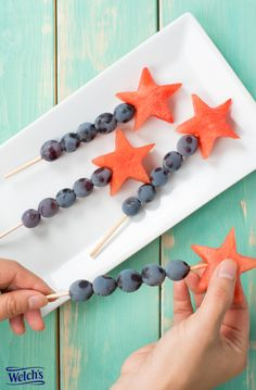 Fruit wands with Concord grapes and watermelon. Birthday party ideas. Easy healthy snacks. Food fun.