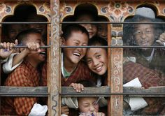 School children through the window of their classroom in a school in Thimphu (Bhutan) International Day Of Happiness, First International, Tulum Mexico, Gross National Happiness, Thunder Dragon, Himalaya, Human Development, Move Mountains, People Of The World
