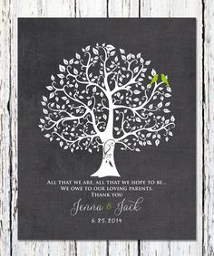 All That We Are, Wedding Tree Print, Thank You Gift for Parents, Bride's Parent Gift, Groom's Parent Gift, Wedding Day Gifts 8 x 10 by WordsWorkPrints on Etsy https://www.etsy.com/listing/245158469/all-that-we-are-wedding-tree-print-thank